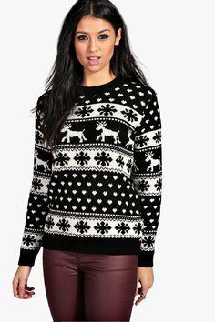 Hollie Reindeers And Snowflake Christmas Jumper