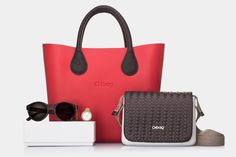 O bag mini red with short handles. O pocket white with braided flap. Sunglasses and O click
