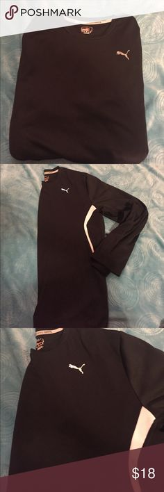 Puma men's shirt 100% polyester.        Black and white.   Puma XL.  Long sleeve great condition Puma Shirts Tees - Long Sleeve