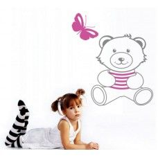 Teddy bear wall decal With a butterfly