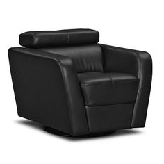 Reno Leather Chair | Furniture.com. Black bonded leather accent chair with ratchet back seating and tufted stitching.