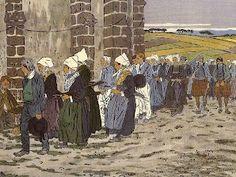 Henri Rivière : procession en Bretagne