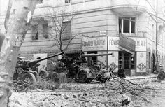 A German anti-aircraft and anti-tank gun in position against Soviet troops in Budapest, January 1945.