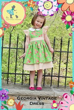 Printed Girls Dress Pattern  Georgia Vintage by TheCottageMama, $12.50  This would be adorable done in blue with a white overlay for an Alice in Wonderland costume.
