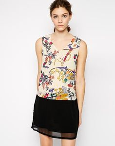 Color Block Bird Print Shift Dress