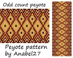Pattern made with size 11/0 Miyuki Delica seed beads Approx width: 2.39 (45 columns) Approx length: 6.92 Technique: Odd Count Peyote Colors: