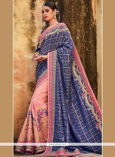 Jazzy Art Silk Patch Border Work Designer Half N Half Saree Model: YOSAR9097