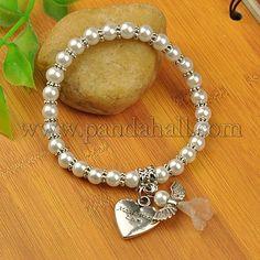 Pulseras del encanto del ángel del vestido de boda encantadores, estirar pulseras para niña, con cuentas de perlas de cristal y perlas de estilo tibetano, plata antigua, blanco, 55 mm al por mayor - Es.Pandahall.com