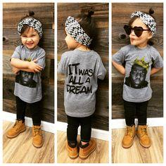 Toddler fashion notoriousbig itwasalladream timberlands heartshades headwrap. That shirt though!!