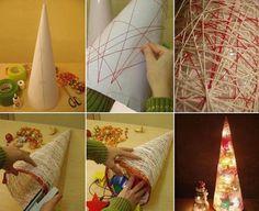 Lighted Yarn Christmas Tree Tutorial   UsefulDIY.com, craft, recycle, children, diy, #knutselen, kinderen, basisschool, moderne kerstboom van papier en draad, kerstmis, lamp, licht