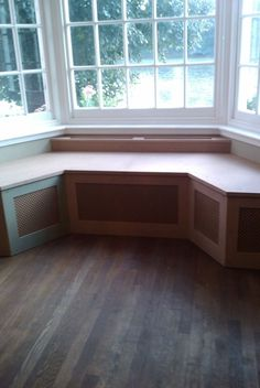 shape  build a bay window seat | Mdf bench seat into a bay window with built in radiator prior to ...