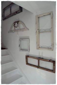 Empty Picture Frames Stairs Whitewashed Cottage chippy shabby chic french country rustic swedish idea