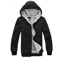 Fashion Men The Hunger Games Mockingjay Moive with Cap Pocket Zipper Fleece Black