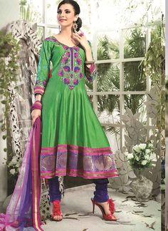 Shop Online Green Chanderi Cotton Silk #AnarkaliSuits @Chennaistore.com