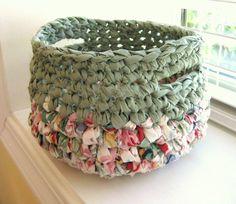 Crocheted Rag Basket Sage Green and Spring Colors-Repurposed. $19.00, via Etsy.