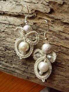 Handmade Earrings Angels  Tatted Earrings by MJsflowerfield, $5.00