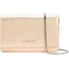 Givenchy Pandora clutch (1635 LYD) ❤ liked on Polyvore featuring bags, handbags, clutches, metallic, beige handbags, snap closure purse, metallic clutches, givenchy and beige purse