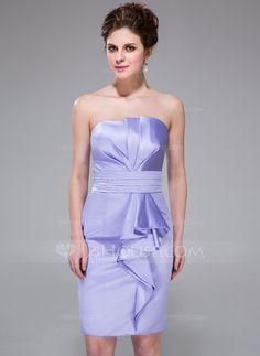 Bridesmaid Dresses - $99.99 - Sheath/Column Scalloped Neck Knee-Length Satin Bridesmaid Dress With Cascading Ruffles (007037312) http://jjshouse.com/Sheath-Column-Scalloped-Neck-Knee-Length-Satin-Bridesmaid-Dress-With-Cascading-Ruffles-007037312-g37312