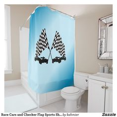 Race Cars and Checker Flag Sports Shower Curtain. Check out the sports section for more sport design products