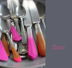 pink & orange coloured cutlery