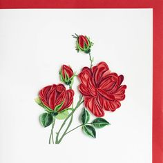 """Quilled """"any occasion"""" greeting card with red Rose bouquet on front"""