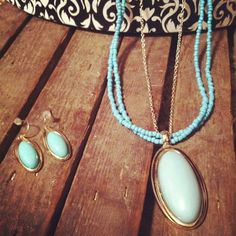 Turquoise and Gold Oval Victorian Style necklace by RainingRustic, $19.00