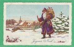 Walking Santa in A Purple Coat