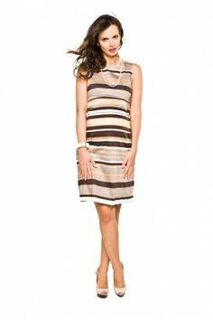 Sukienka Eldora biało-brązowe paski/Dress Eldora http://maternity24.pl/pl/p/Sukienka-Eldora-bialo-brazowe-paski/1498
