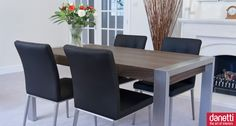 Modern designer extending walnut veneer dining table, the Style table is supported by contemporary brushed metal legs which beautifully complement the walnut veneer table top. This walnut dining table measures 1600mm when closed, seating 6 people, and easily and smoothly extends to 2000mm via a fold out leaf to comfortably seat 8. £449.00