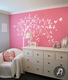 Willow tree decal Large tree decal White tree by TheAmeliaDesigns