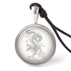 vietguild Chinese Dragon Necklace Pendants Pewter Silver