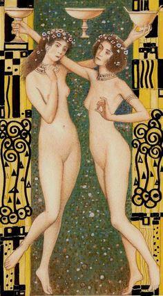 Three of Cups The Golden Tarot of Klimt by Atanas Alexander Atanssov