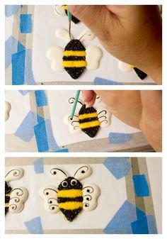 Cute Bee Royal Icing Transfers thebearfootbaker.com