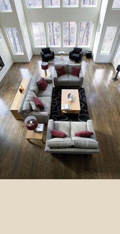 White oak plank flooring enhances a home's living space Courtesy - Weaber Hardwood Flooring Open Space Living, Living Spaces, Living Room Modern, Living Room Designs, Welcome To My House, White Oak Floors, Hardwood Floors, Plank Flooring, Floor Colors