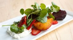 Roasted Beets and Strawberries with Yogurt and Watercress as adapted from Josh Lawler, The Farm and Fisherman, Philadelphia by tastingtable #Beet_Salad #Josh_Lawler #tastingtable