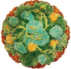 Majolica plate - Minton, Nasturtium - DIY Home Decor Pottery Plates, Glazes For Pottery, Ceramic Pottery, Ceramic Art, Manufacture De Sevres, Pottery Making, Antique China, China Patterns, Porcelain Ceramics
