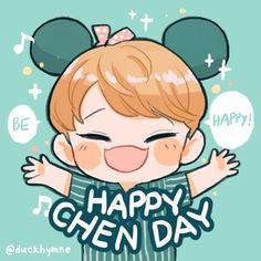 Créditos en la foto Exo Chen, Exo Xiumin, Exo Cartoon, Cartoon Art, Monsta X, Exo Birthdays, Kai, Chibi, Cute Happy Birthday