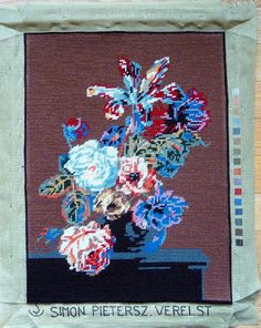 Vintage Finished / Completed Needlepoint - Floral Bouquet on Brown Background
