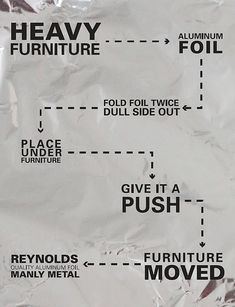 Furniture moving tip - use aluminum foil to glide furniture over floors