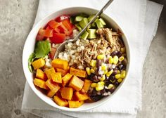 Throw protein and vegetables over grains for a delicious dinner.