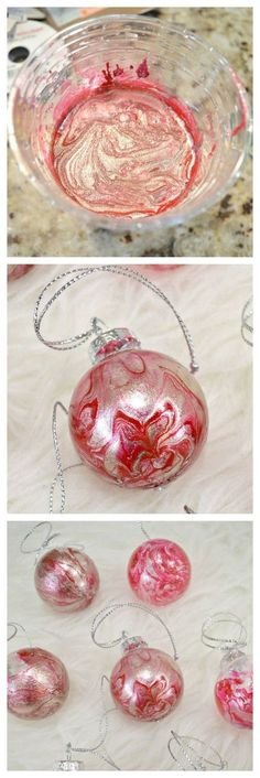 DIY Marbled Christmas Ornaments #christmas #christmasornaments #christmasdiy