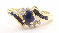 10k Solid Gold Sapphire & Diamond Ring Cluster Can Be Sized Free Shipping #WithDiamondsGemstones