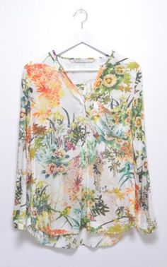 Zara-Floral-Printed-Off-White-Shirt-Blouse-Top-Size-S