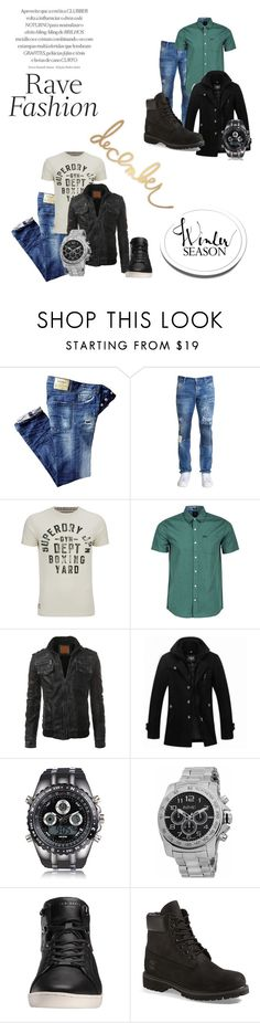 """Untitled #14"" by nermina-hasanbasic ❤ liked on Polyvore featuring Dsquared2, Superdry, Volcom, Ted Baker, Timberland, Heidi Swapp, men's fashion and menswear"