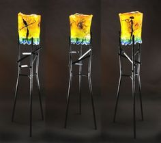 """""""This Is The Way It Was"""" x Cast glass rolled and manipulated hot; constructed steel stand Images from African and Australian pictographs by Henner Schroder Seattle Art, Sandblasted Glass, Kiln Formed Glass, Cast Glass, Stained Glass, Glass Art, Sculptures, Art Gallery, African"""