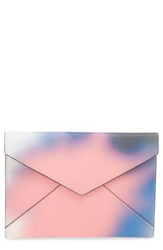 This fun envelope clutch by Rebecca Minkoff pairs both rose quarts and serenity together to create a vibrant design.