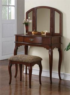 Chantal Bedroom Makeup Dressing Table Set with Drawer & Mirror Bedroom Dressing Table, Dressing Table Design, Makeup Dressing Table, Dressing Table With Stool, Traditional Dressing Tables, Comfortable Office Chair, Wrought Iron Patio Chairs, Traditional Bedroom Decor, Set Of Drawers