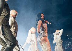 Rihanna wore a custom Adam Selman romper on the... | RIHANNA.STYLE