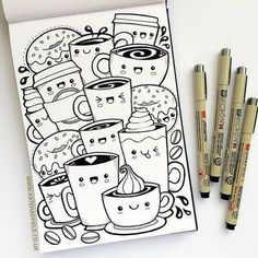 Kawaii coffee sketchbook drawing for IF Draw A Week by Kate . Kawaii coffee sketchbook drawing for IF Draw A Week by Kate Hadfield Cute Doodle Art, Doodle Art Designs, Doodle Art Drawing, Cool Art Drawings, Kawaii Drawings, Easy Drawings, Drawing Ideas, Doodling Art, Drawing Poses