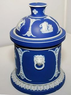 Rare Antique Wedgwood Blue Jasper Humidor, for the cigar smoker, or pipe tobacco, in the summertime